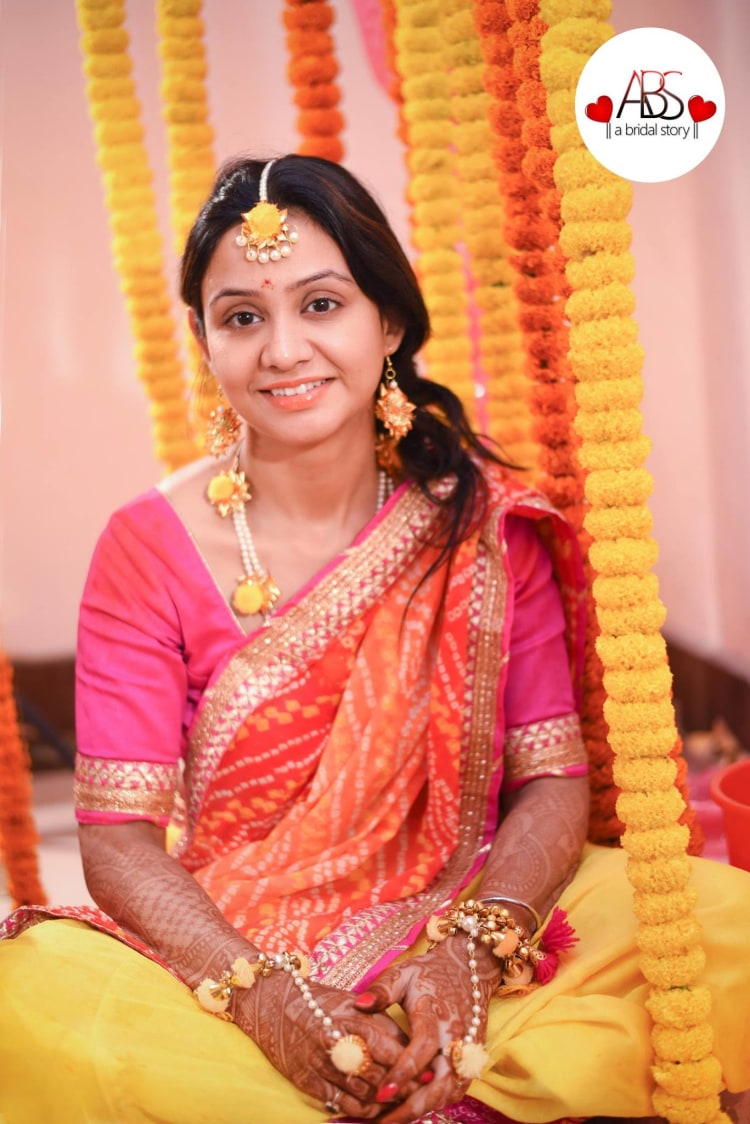 Shimmering look for haldi day! by A Bridal Story Wedding-photography   Weddings Photos & Ideas