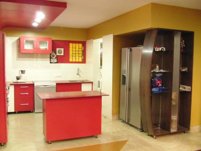 Red And White Kitchen Cabinets By Shakti Prasad