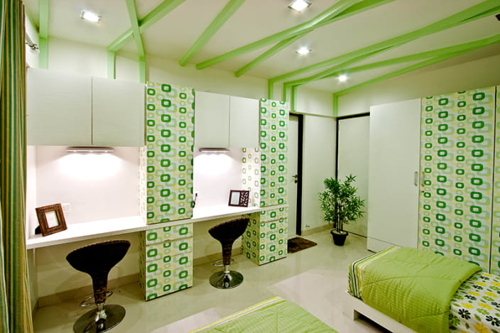 Olive Green Themed Bedroom And Minimalistic Study Table By Rajat Ajmera,Sketch Architecture Art Design