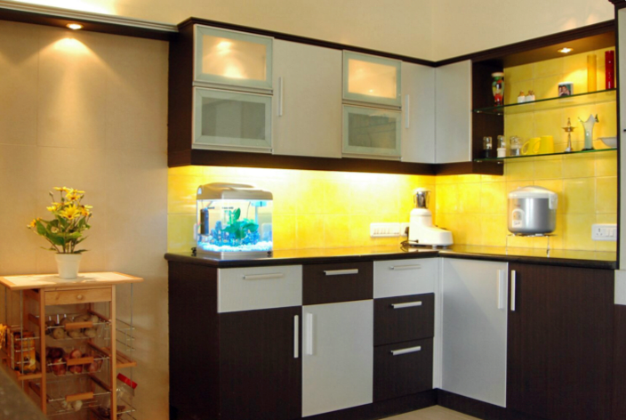 Black And White Shade L Shaped Modular Kitchen By Kanishk Interiors