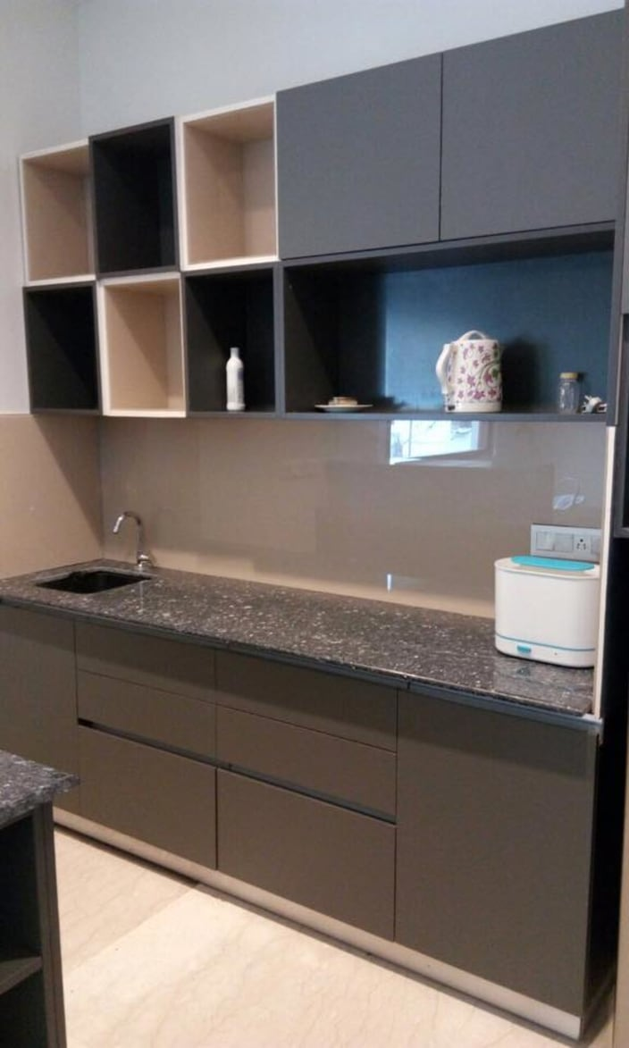 Stylish Modular Kitchen With Dark Grey Cabinets And Black Granite Slab By Deepanshu Gandhi