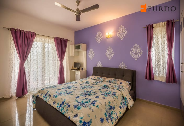 Bedroom With Purple Wall Art By Furdo Com