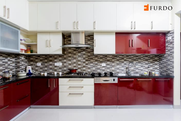 L Shape Kitchen With Red U0026 White Cabinets