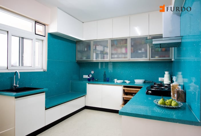 Blue Shade Interior Kitchen With Cabinets By Furdo Com