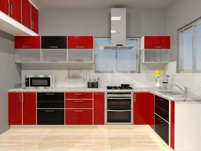L Shaped Modular Kitchen With Black And Red Cabinets By Regalias Interiors