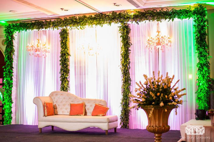 Wedding stage decor ideas and photos white seating and stage decor for wedding day junglespirit Gallery