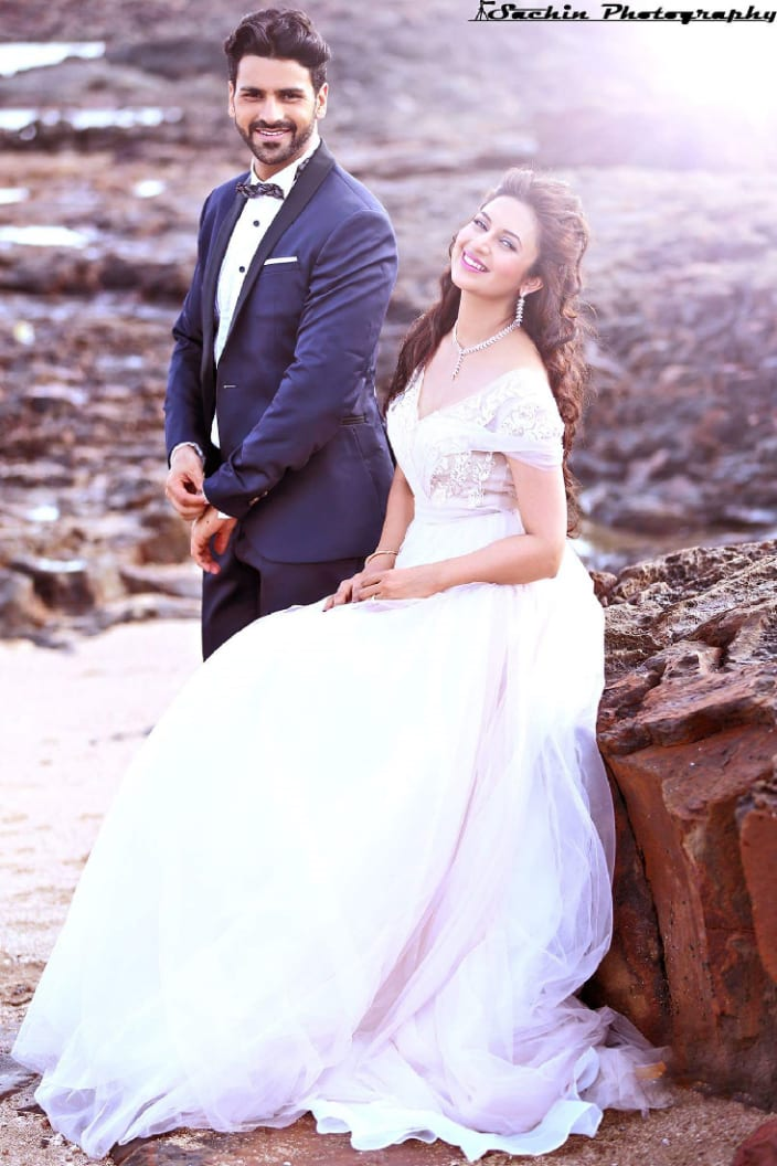 Aesthetic White Ball Gown And Navy Blue Tux By Sachin Kumar