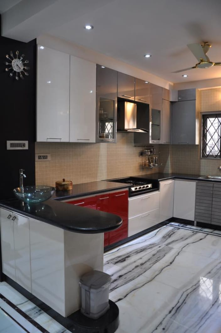 Good U Shaped Kitchen With Modern Cabinets And Wall Decor By Prashant Mali  Modular Kitchen Contemporary