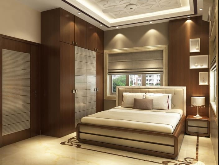 Modern bedroom with wooden designed wall and wardrobe by - Interior design for bedroom in india ...