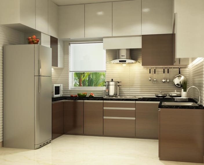 Good U Shaped Kitchen With Modern Cabinets And False Ceiling