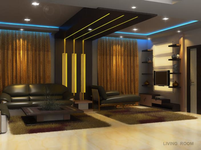 Cozy living room with false ceiling and display unit by Prashant Mali  UrbanClap