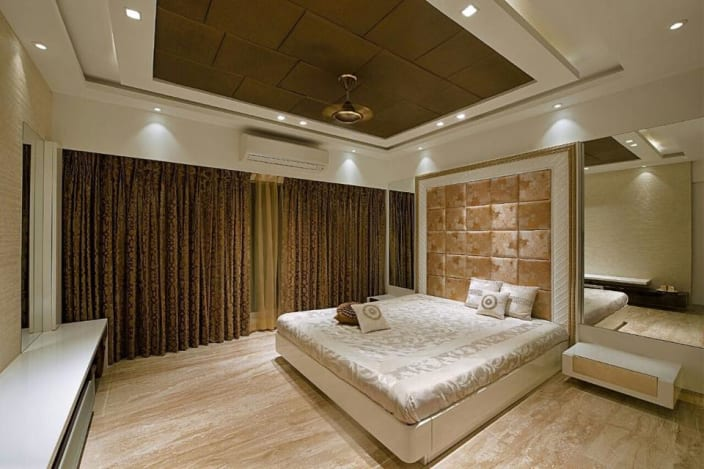 Bedroom With Beige Ceiling Curtains And False Ceiling