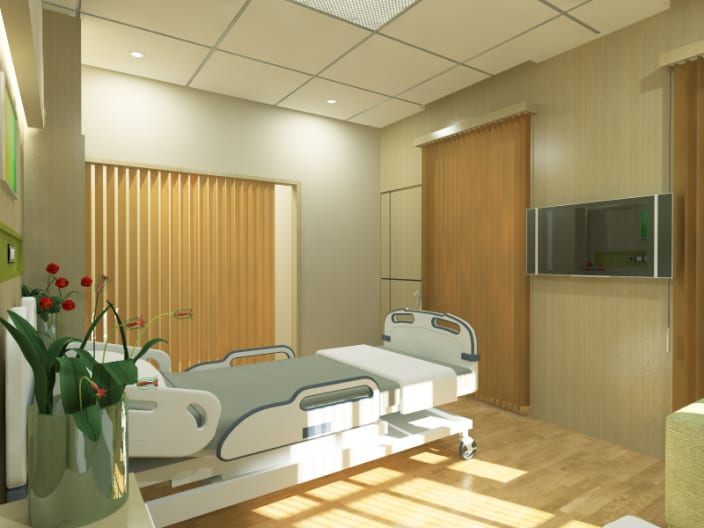 Modern Design Of Hospital Bedroom With Wooden Floor & Hospital Design Ideas and Photos - UrbanClap