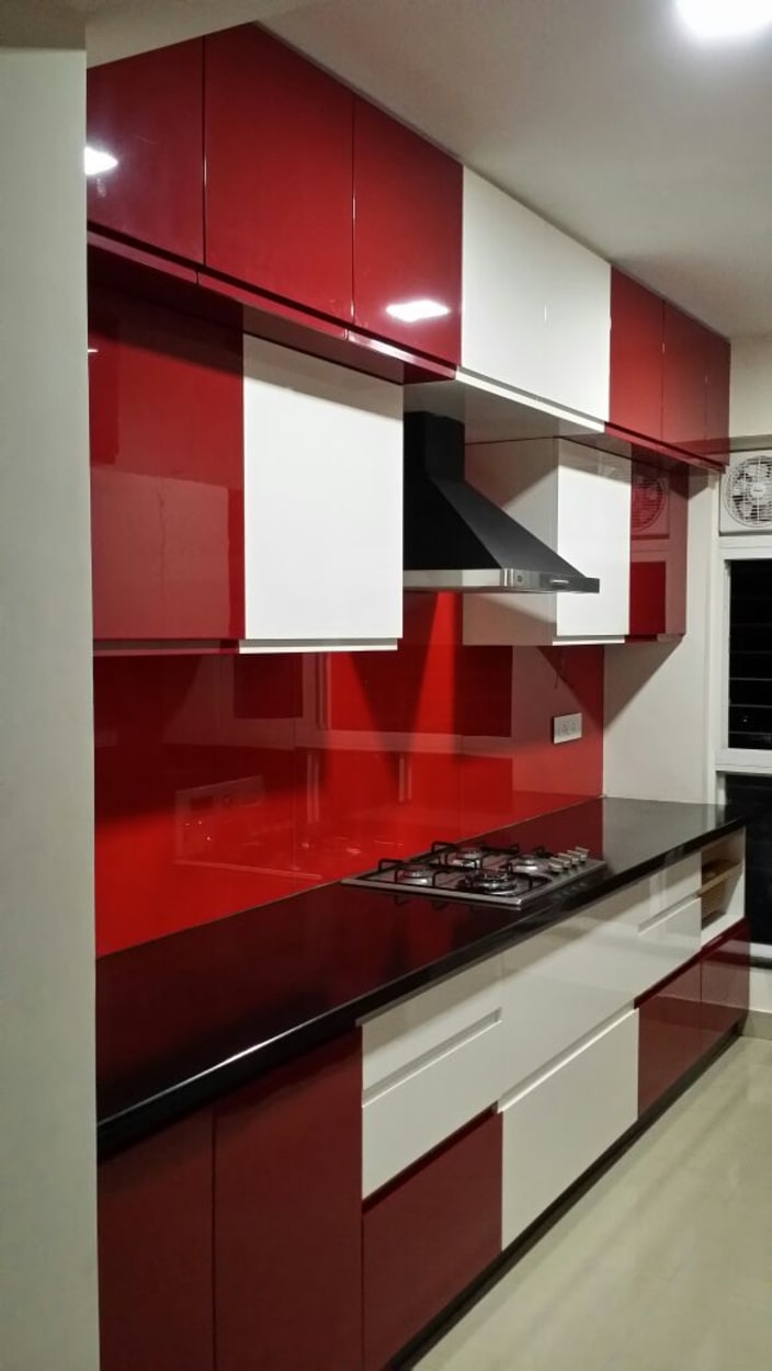 Red And White Modular Parallel Kitchen by Shreesamarth ...