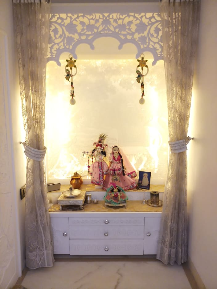 Prayer Room Design Ideas: White Prayer Room With Yellow Back Lighting By Sumita