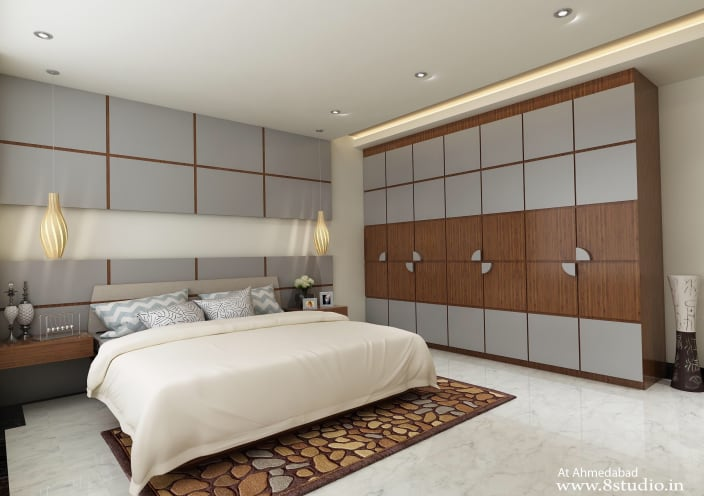 White Themed Master Bedroom With Marble Flooring By Design Pixel