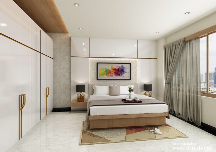 Modish Master Bedroom With White Marble Flooring By Design Pixel
