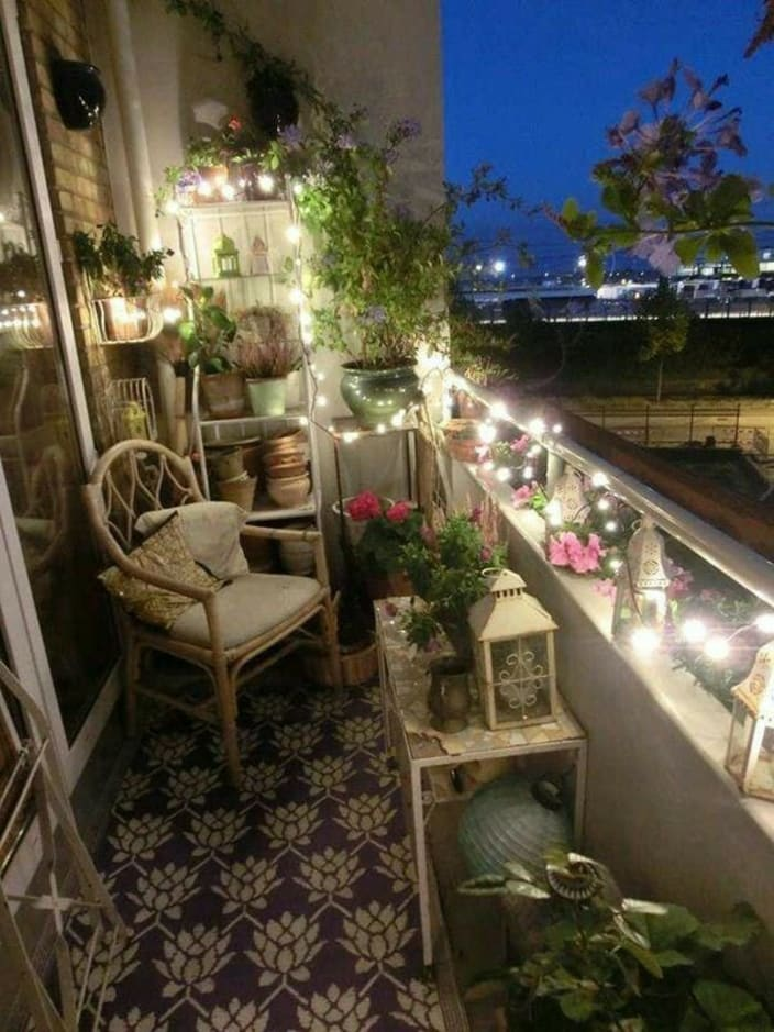 Customized Balcony With Fairy Lights And Vines