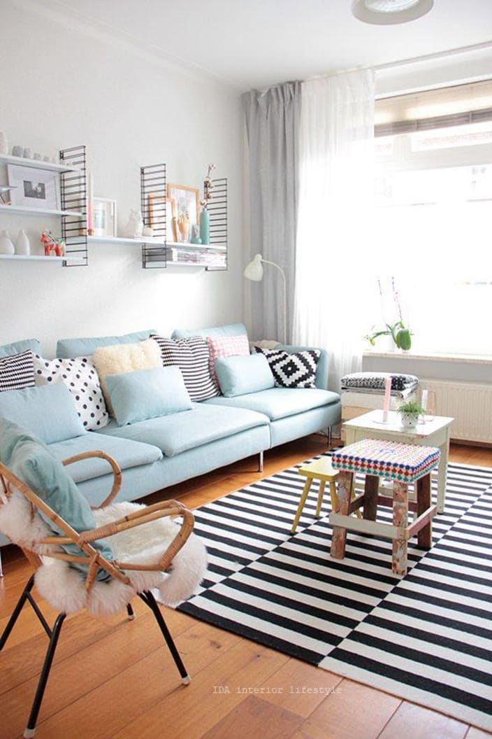 Sharp White Living Room With Sky Blue Sofa By Live Fabulous