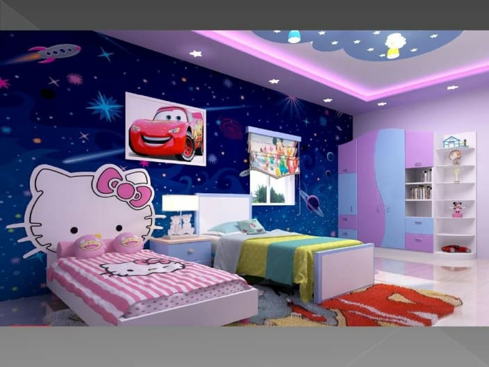 Disney Themed Kids Bedroom With Customized Wallpaper By Ryan Associates