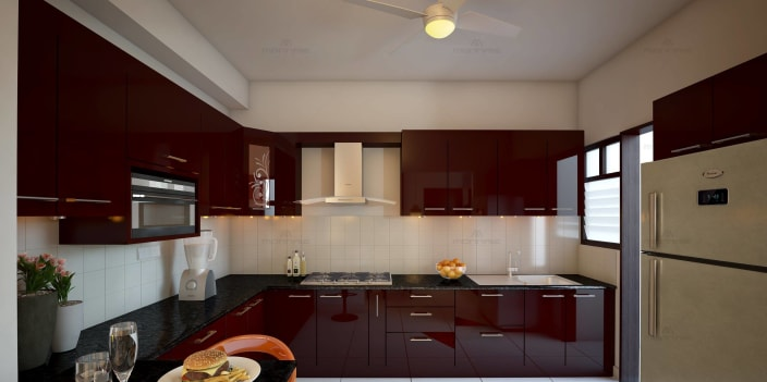 L Shaped Kitchen With Glossy Maroon Base And Wall Cabinets