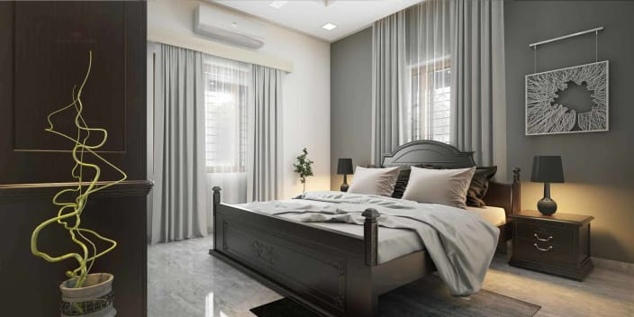 Bedroom With Queen Size Wooden Bed And Abstract Wall Art Hinged To Black  Wall