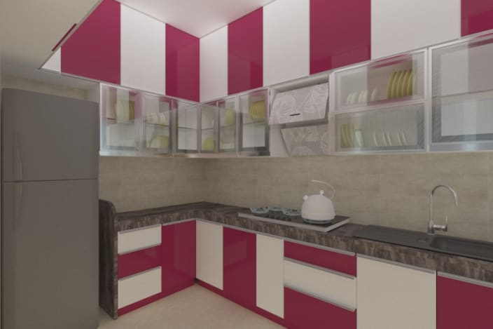 Trendy L Shaped Modular Kitchen With, Cherry And White Kitchen Cabinets