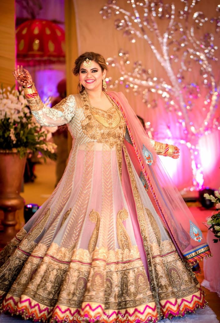 ae04ed7e6a1 Alluring Pink And White Indo-Western Dress With Intricate Golden Motifs