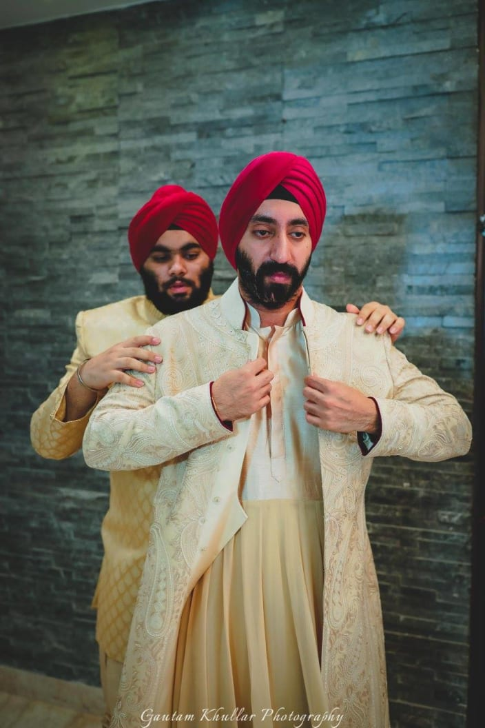 Candid Shot Of Conventional Sikh Groom Getting Ready