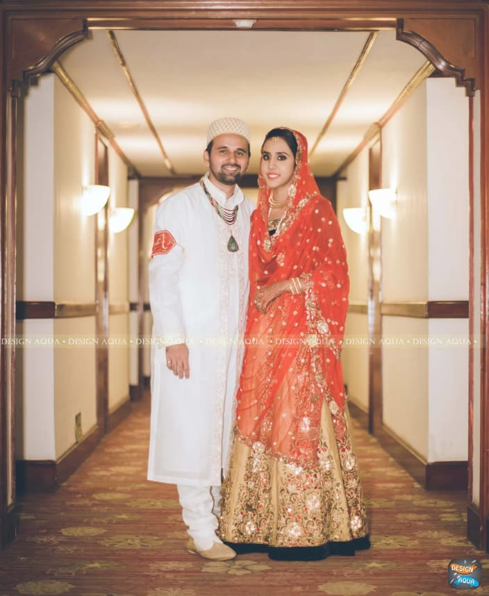 8b446e0de3740 Golden Anarkali With Crimson Red Dupatta Goes Well With the White Sherwani  of the Groom