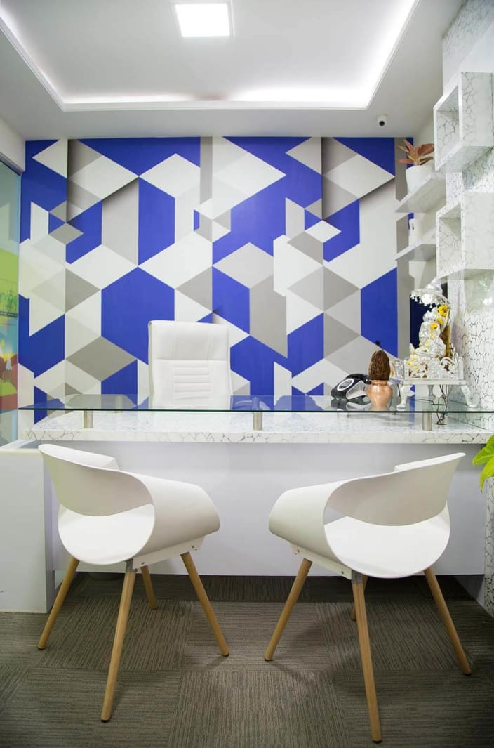 White And Blue Themed Office Space With Edgy Blue Wall Design By Trupti Ladda