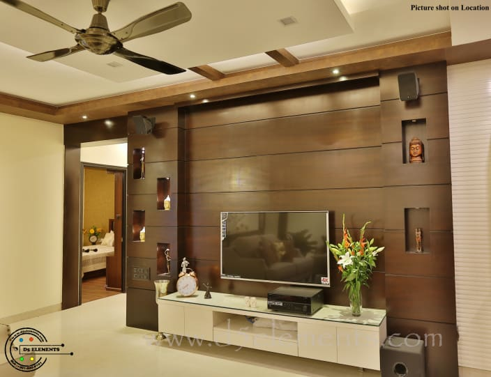 Living Room With Tv Unit And Modern False Ceiling By Suneeta Manjunath