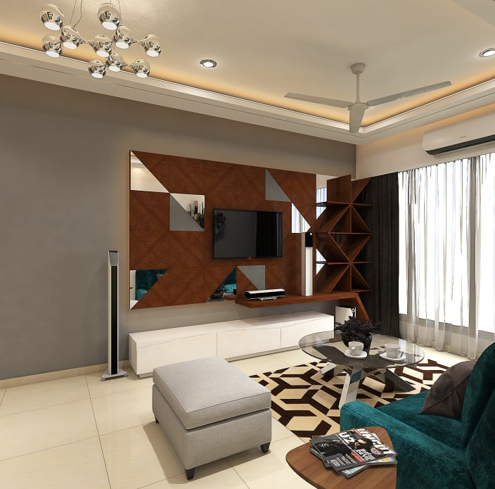 Living Area Cabinet Design: Tv Unit In Living Room Area With Modern Display Unit By