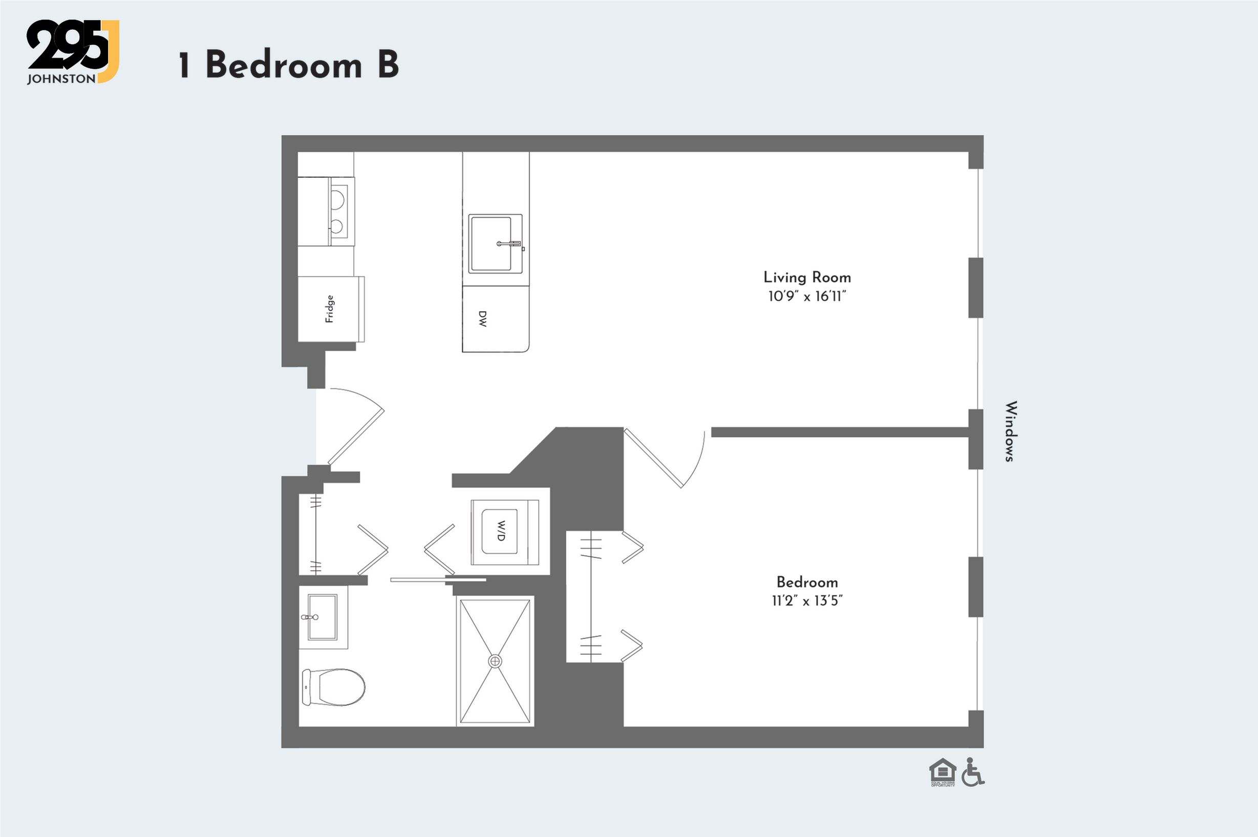 1 Bedroom B floorplan