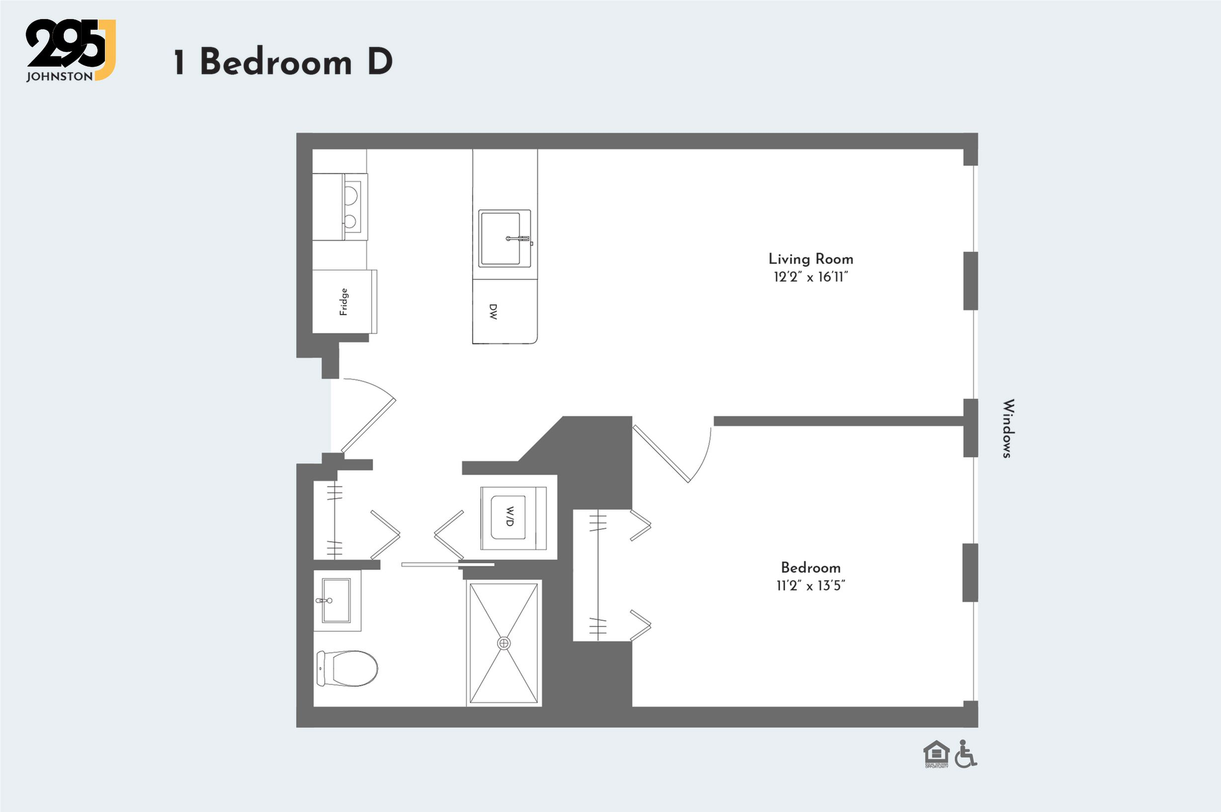 1 Bedroom D floorplan