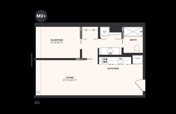 M2+ floorplan