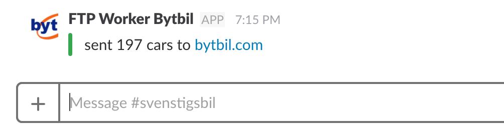 The Slack notification