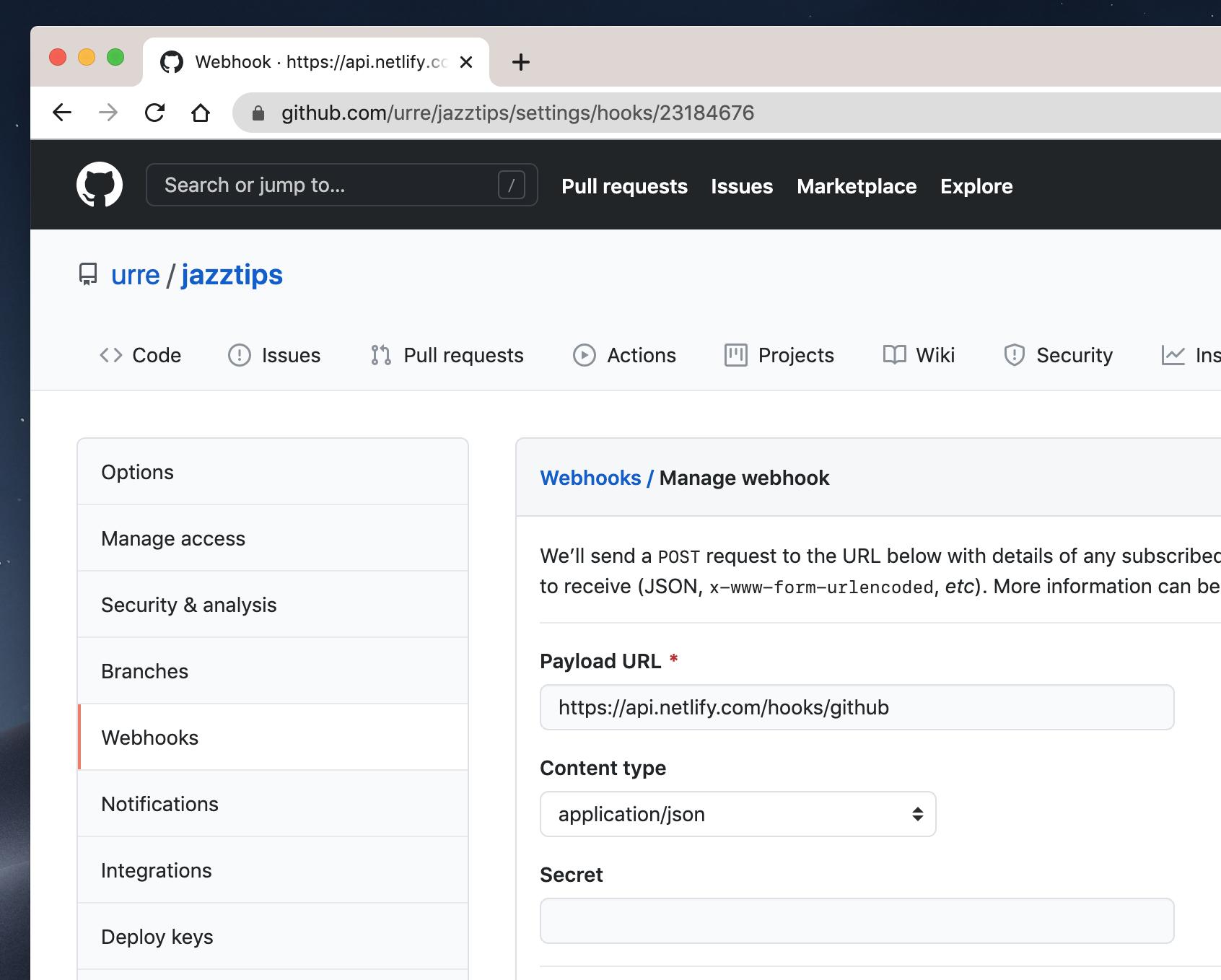 Setup a web hook on Github