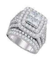 4 CTW Princess Diamond Cluster Bridal Engagement Ring 14KT White Gold