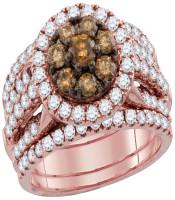 4.01 CTW Brown Diamond 3-Piece Bridal Engagement Ring 14KT Rose Gold