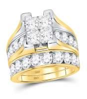 4 CTW Princess Diamond Bridal Engagement Ring 14KT Yellow Gold