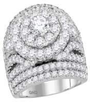 5.01 CTW Diamond Cluster Halo Bridal Engagement Ring 14KT White Gold