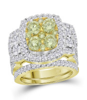 3.04 CTW Yellow Diamond Bridal Engagement Ring 14KT Yellow Gold