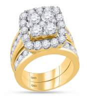 4.26 CTW Diamond Square Cluster Bridal Engagement Ring 14KT Yellow Gold