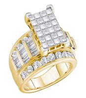 5 CTW Princess Diamond Cluster Bridal Engagement Ring 14KT Yellow Gold