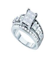 3 CTW Princess Diamond Cluster Bridal Engagement Ring 14KT White Gold