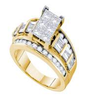 3 CTW Princess Diamond Cluster Bridal Engagement Ring 14KT Yellow Gold