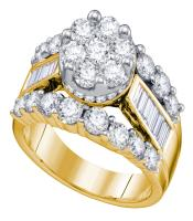 2.99 CTW Diamond Cluster Bridal Engagement Ring 14KT Yellow Gold