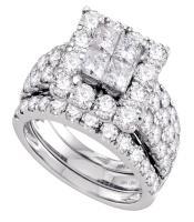 4 CTW Princess Diamond Square Halo 3-Piece Bridal Ring 14KT White Gold