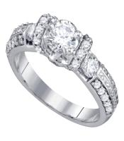1.5 CTW Diamond Solitaire Bridal Engagement Ring 14KT White Gold